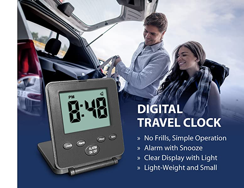 Amazon.com: Reloj digital de viaje Travelwey con alarma ...