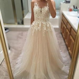 Ruolai Women\'s Sleeveless Deep V Neck Champagne Wedding Dress A-Line ...