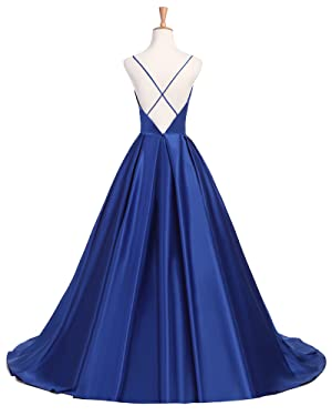 A-line Backless Simple Prom Dress