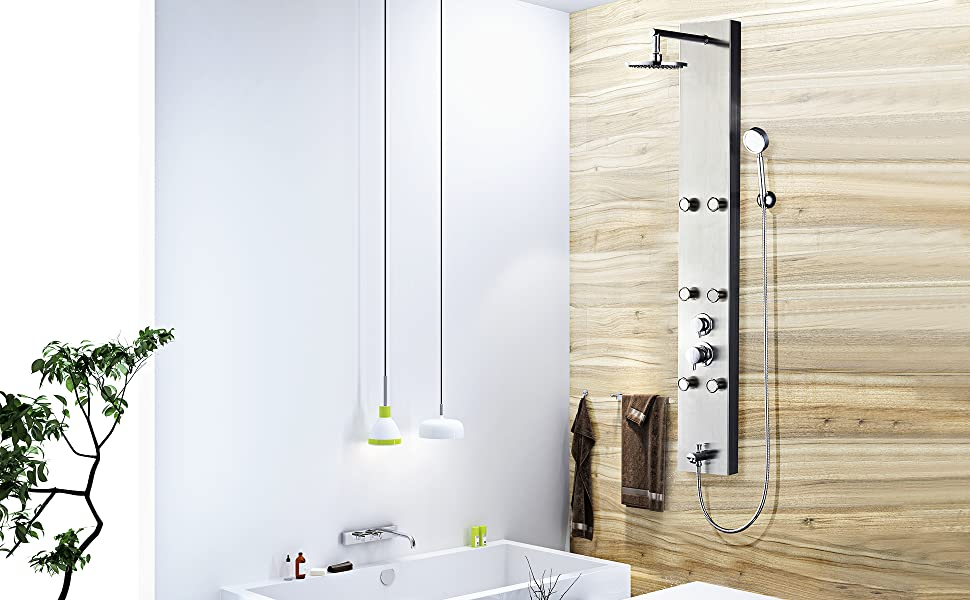 Vantory 59\'\' Stainless Steel Shower Panel System Faucet Rainfall ...