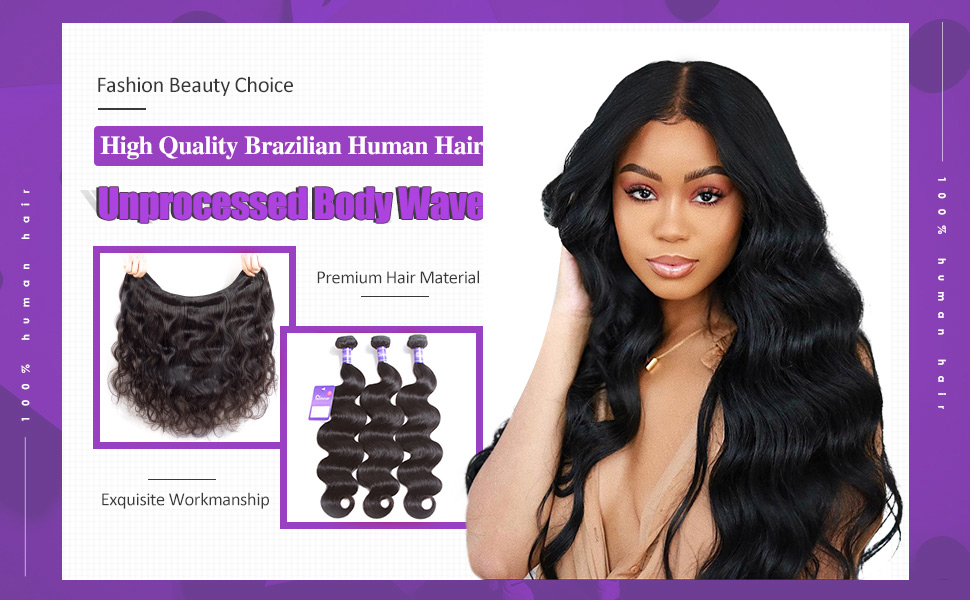 natural balck body wave 3 bundles 100% unprocessed virgin human hair bundles hair weave faddishair