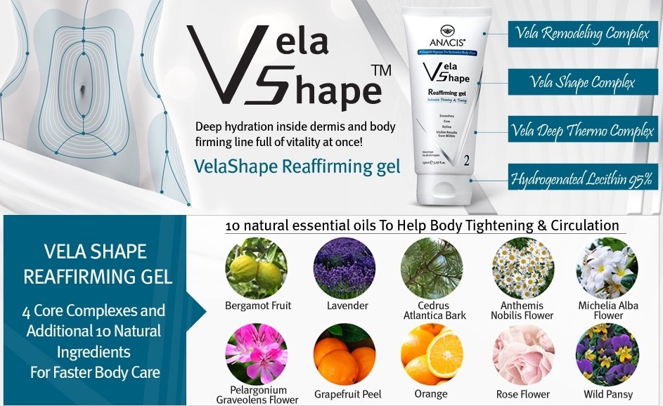 Vela Shape Reafirming Complex Gel provides the body shape that is more resilient and slim with its strong firming, slimming and tightening action.