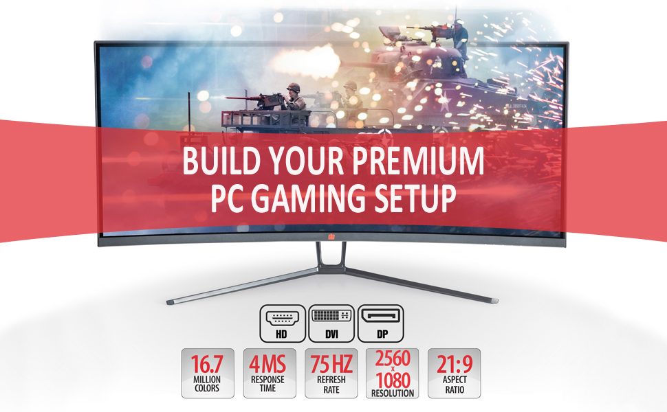 Curved ultawide gaming LED monitor deco gear IPS modern
