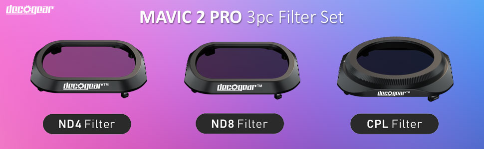 DJI Mavic 2 Pro Filter Kit CPL+ND4+ND8 for Camera by Deco Gear