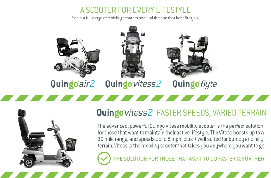 Quingo Vitess 2 Mobility Scooter with 5 Wheel Anti-Tip Stability System; Most Luxurious, Advanced and Powerful Model Perfect for Any Terrain for Maximum ...