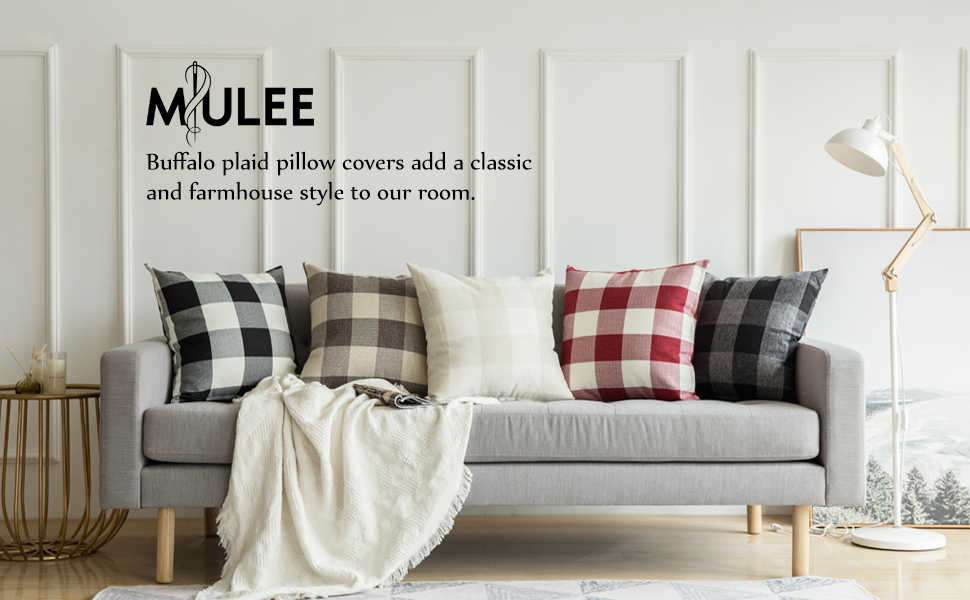 MIULEE Pack of 2 Classic Retro Checkers Plaids Cotton Linen Soft Soild Christmas Decorative Square Throw Pillow Covers Home Decor Design Set Cushion ...