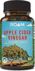 roam Apple cider vinegar pills, capsules, natural detox cleanse, healthy gut support, digestive