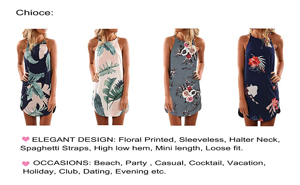 2baf736419769 Women Womens Summer Casual Halter Sleeveless Mini Printed Vest Dresses  Casual