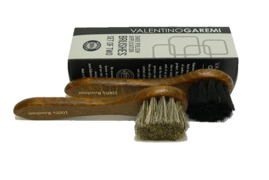 Valentino Garemi Shoe Polish Applicator Brush Traditional Set Real Horse Hair /& Hard Wood Handle For all Leather Footwear /& Boots Manufactured in Germany
