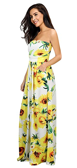 1a4703f697f55 Leadingstar Women Strapless Maxi Vintage Floral Print Graceful Party ...