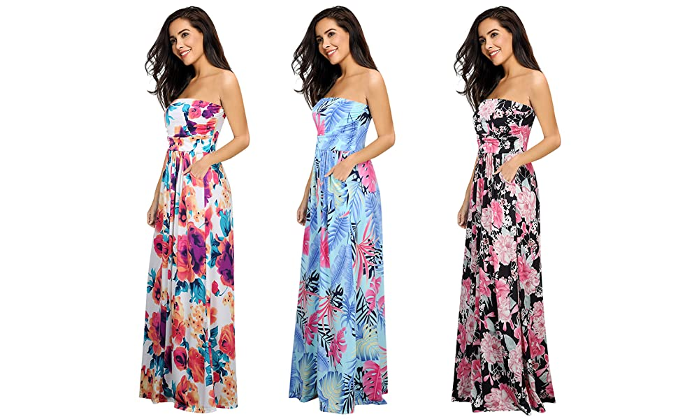 f085c5e83e7c6 Leadingstar Women Strapless Maxi Vintage Floral Print Graceful Beach Long  Dress