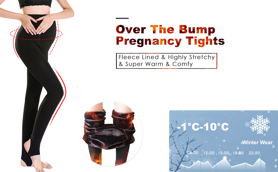 05d9b1093c06c3 Over the belly Fleece Lined maternity leggings are made of high quality  fabric. They are thick and extremely warm, adjustable and super stretchy,  ...