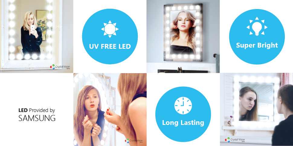 Modern K9 Crystal Led Bathroom Make Up Mirror Light Cool: Amazon.com: Crystal Vision Make Up Mirror LED Light Kit