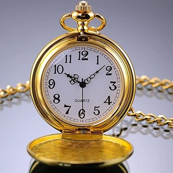 Victorian Men's Cane, Pocket Watch, Spats, Suspenders Golden Classic Smooth Full Hunter Pocket Watch with Chain $10.65 AT vintagedancer.com