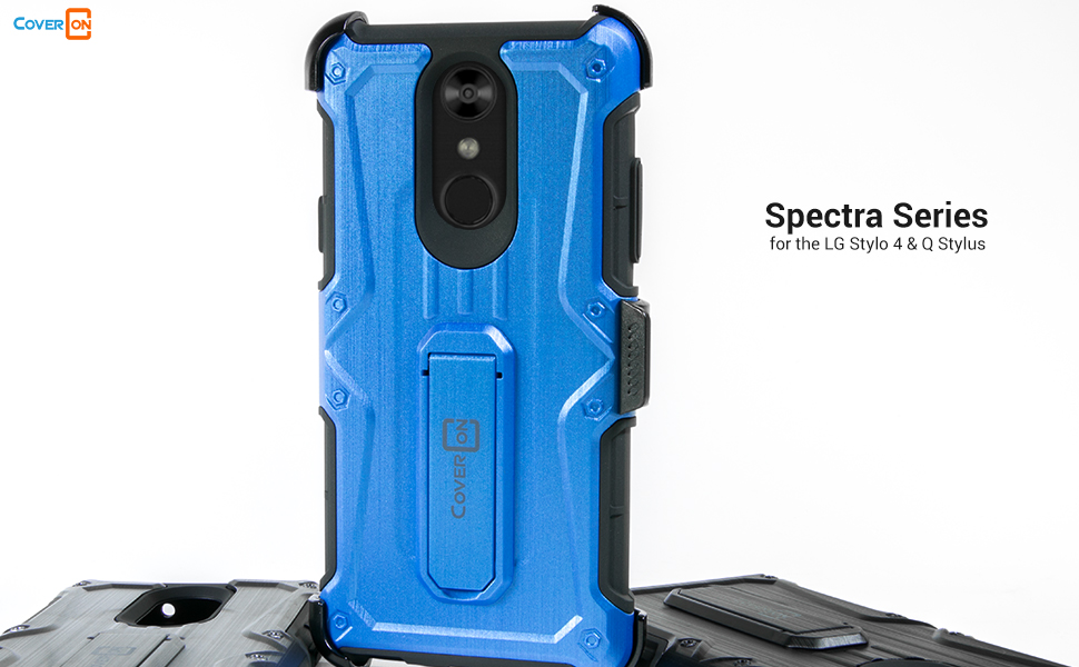 LG Stylo 4 Q Stylus Heavy Duty מגן Kickstand היברידי חגורה מתכווננת טלפון קליפ Case Cover