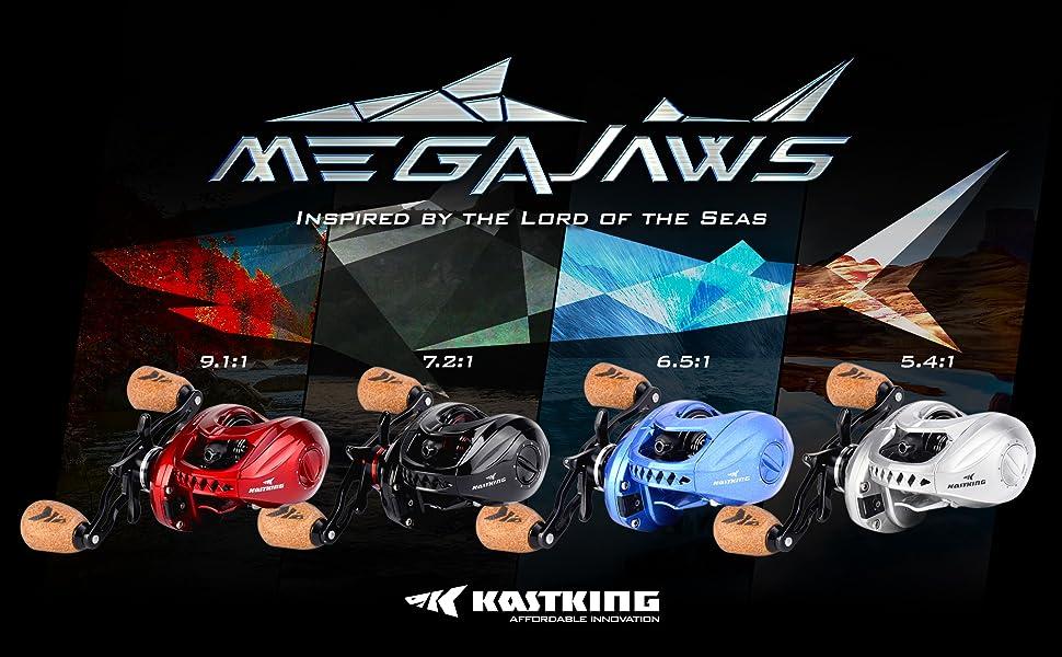Left KastKing MegaJaws 6.5:1 Gear Ratio 12 BB Smooth Baitcasting Fishing Reel