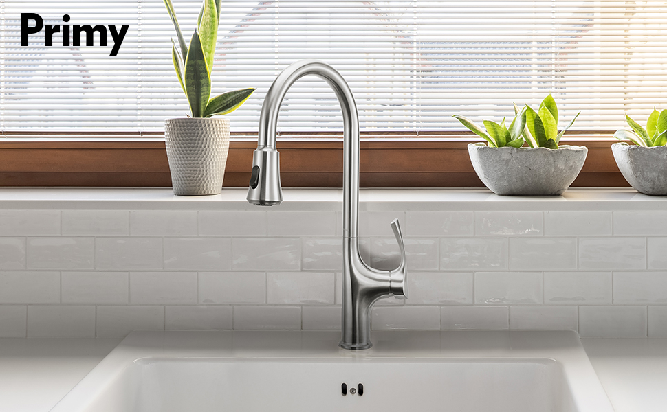Primy Kitchen Faucets with Pull Down Sprayer Simple Modern Heavy Duty  Lead-Free Single Handle High-Arc Kitchen Sink Faucet With Deck Plate,  Height ...