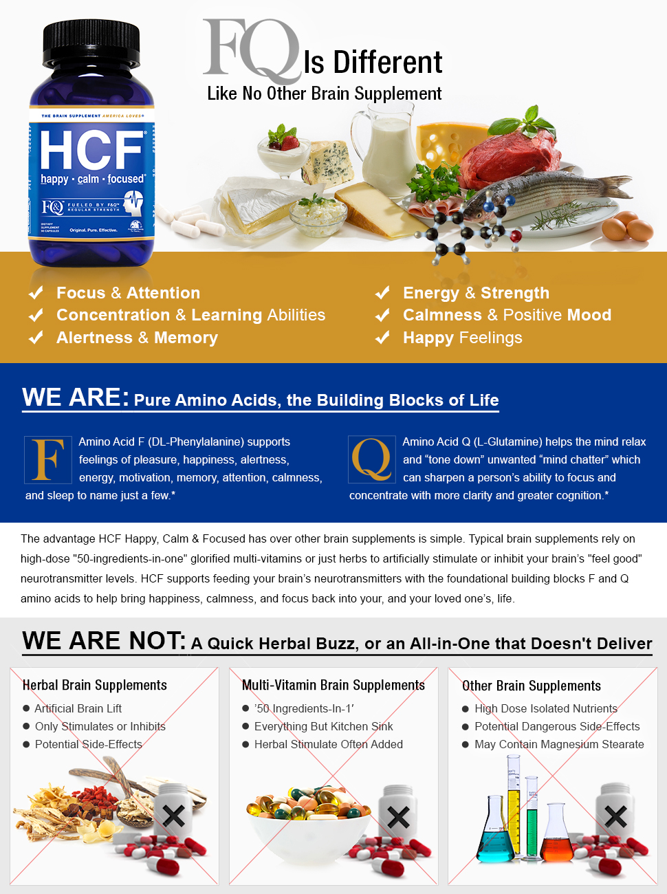 HCF Brain Supplement with Amino-Acids & Vitamins for Memory, Focus,  Attention, Mood, Energy  Improve