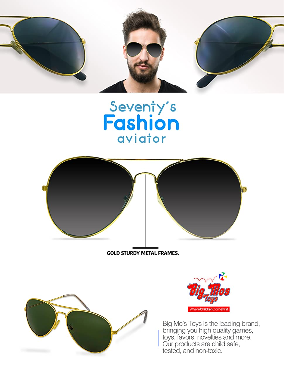 cf590b786 These Aviator Style Sunglasses Are What Will Make A Police, Pilot Or  Rock-star Costume Come Alive! The Gold Frames And Dark Lenses Make It A  Classic Piece.