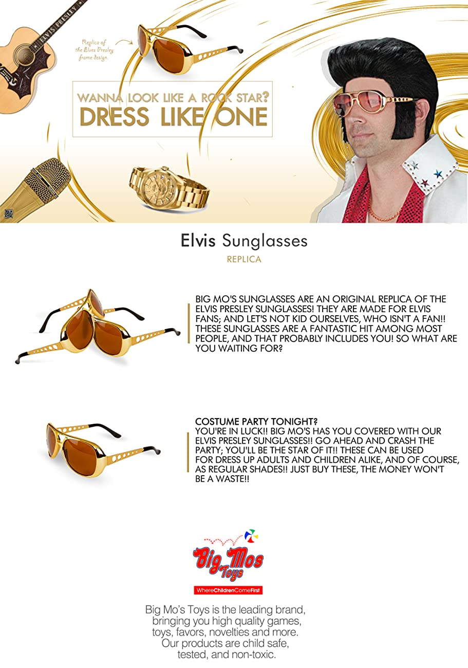 Big Mos Toys Elvis Rockstar 50s, 60s Style Aviator Shades, Gold Celebrity Sunglasses 1 Pair
