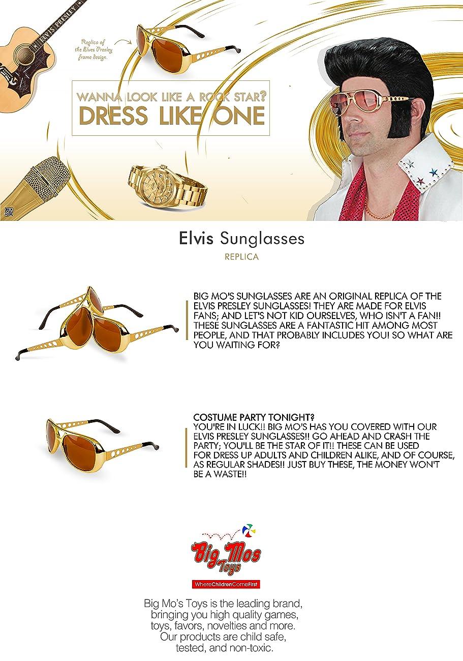 Big Mos Toys Elvis Rockstar 50s, 60s Style Aviator Shades, Gold Celebrity Sunglasses 1 Pair