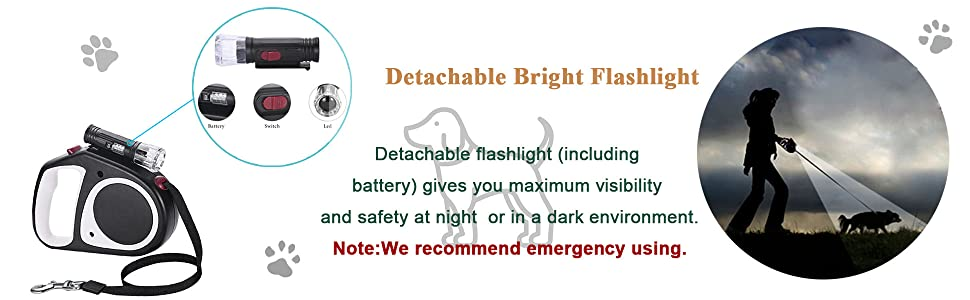 Detachable bright flashlight for optimal visibility in the dark.