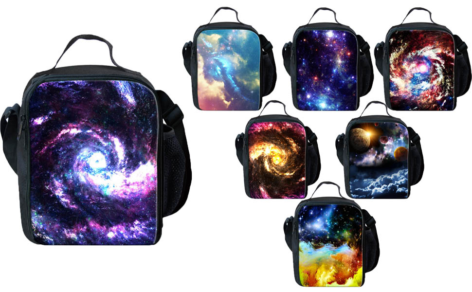 3ecf903dbda4 LedBack 3D Galaxy Lunch Box for Boys Girls Durable Insulated Lunch Bag with  Zipper Lightweight Thermal Picnic Bag Children Adjustable Shoulder Strap ...