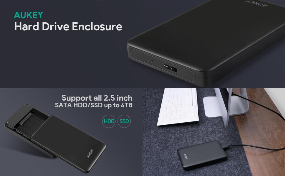 Amazon.com: AUKEY caja para disco duro de 2.5 pulgadas, caja ...