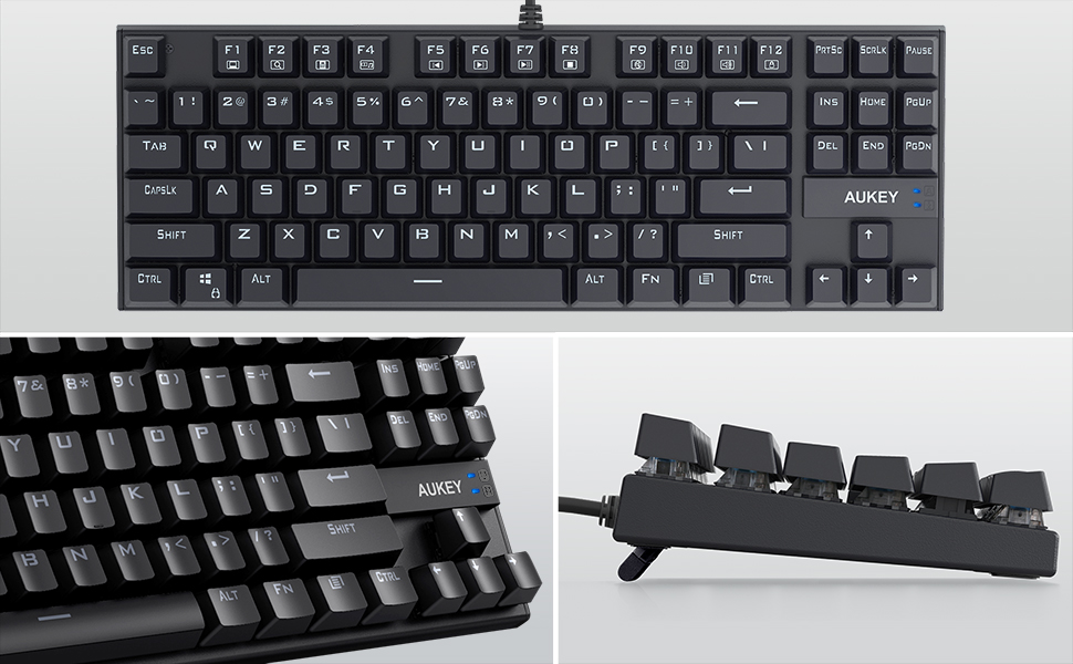 AUKEY Mechanical Keyboard, TKL Gaming Keyboard with Blue Switches, 87-Key 100% Anti-Ghosting with Metal Panel and Water Resistant Design for PC and ...