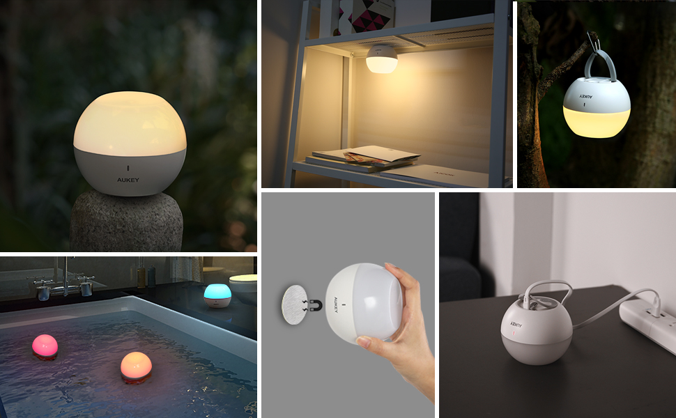 Amazon Com Aukey Night Light For Kids Rechargeable Baby Bedside Lamp Ip65 Water Resistant