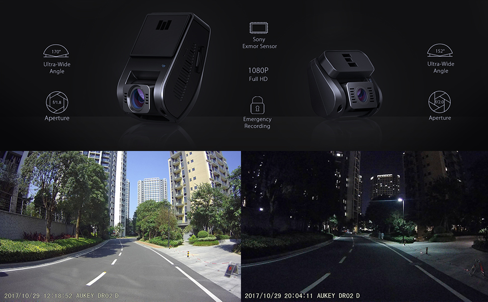 Amazon.com: AUKEY Dual Dash Cam HD 1080P Front and Rear