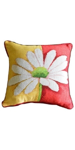 colorful daisy pillow cover