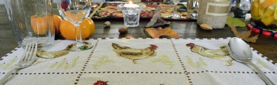 chickens roosters table linens set kitchen home decor spring summer fall autumn all year round