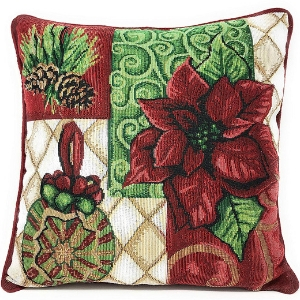 poinsettia ornaments pillow