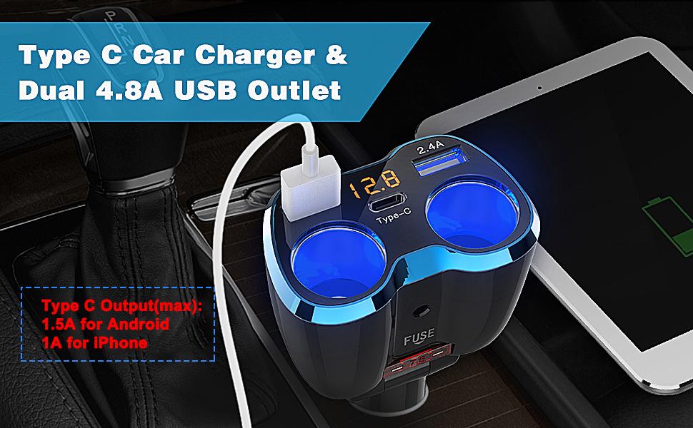 USB C Car Charger, Cigarette Lighter Splitter Adapter 2 Socket Type C Multi Power Outlet 12V/24V 80W DC with LED Voltmeter Switch 5.8A Dual USB Port ...