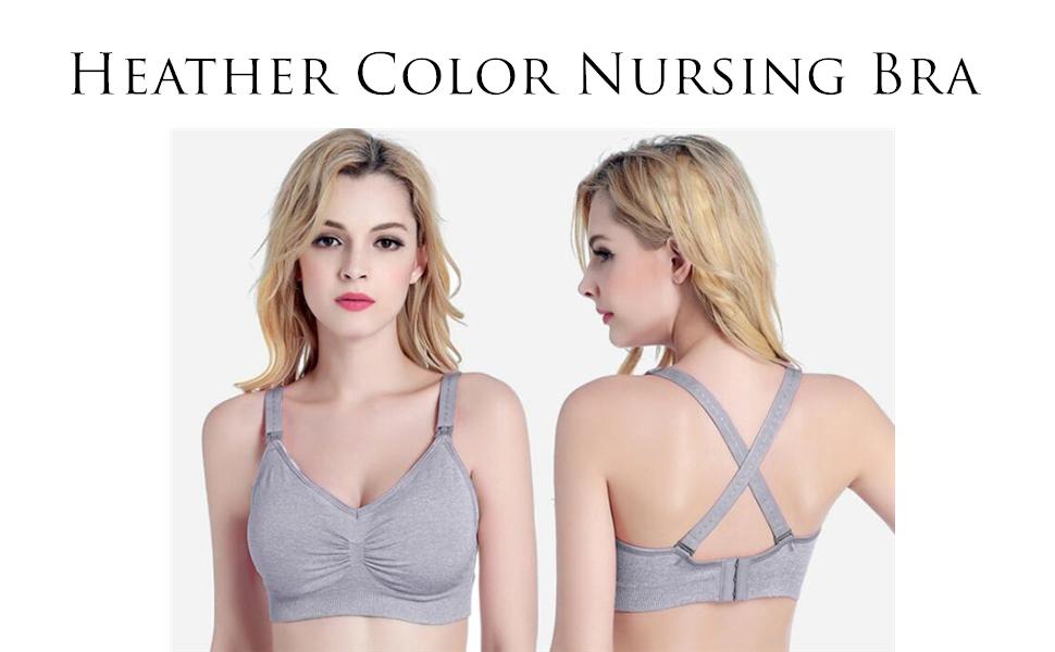 INIBUD Nursing Bra Space Dye Seamless Maternity Bra with Bra Extenders