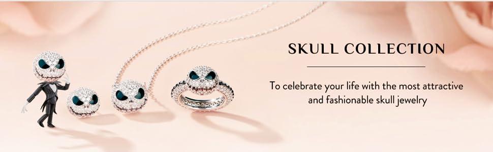 Jeulia Jack skull rings holloween 925 sterling silver white diamond rings cute engagement wedding