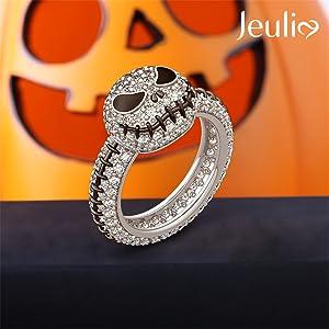 Jeulia jack skull rings cute holloween white diamond engagement rings bridal rings set cz solitaire