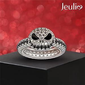 Jeulia Jack skull rings 925 cute halloween sterling silver engagement rings wedding birdal set cz