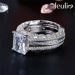 Jeulia custom engrave white diamond interchangable enagagement anniverdary promise ring set