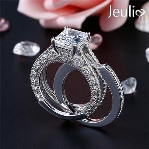 Jeulia custom engraved interchangable rings sterling sivler white diamond rings anniverdary