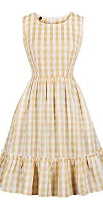 9221977e3a5 ... vintage dress retro dress plaid dress check dress yellow dress  bridesmaid dress summer dress swing · Polka Dots Ruffle Strap ...