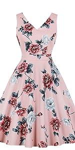 cf98d356e86 vintage dress retro dress v neck dress cotton dress floral dress pink dress  1950s dress party ...