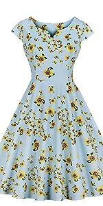 3c37f4d4ea4 ... vintage dress retro dress v neck dress cotton dress floral dress blue  dress 1950s dress yellow ...