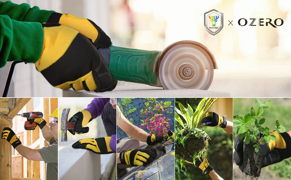 OZERO Work Gloves, with Extra Grip Synthetic Leather Palm Touch Screen Fingertips Gardening Gloves