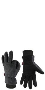 OZERO deerskin and fleece winter gloves with elastic cuff