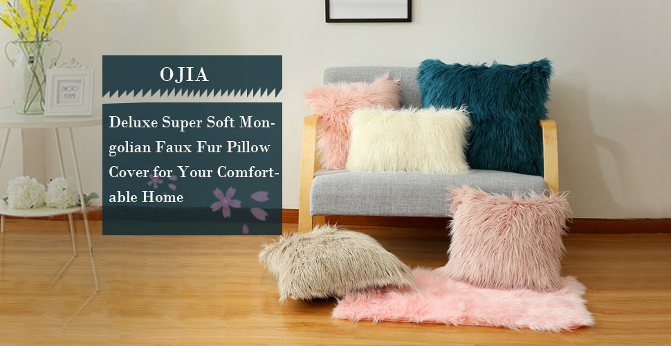 ojia deluxe cushion cover fabrics are thick and delicate faux fur cushion cover can not only protect your pillow inners but also seamlessly integrated - Mongolian Faux Fur Pillow