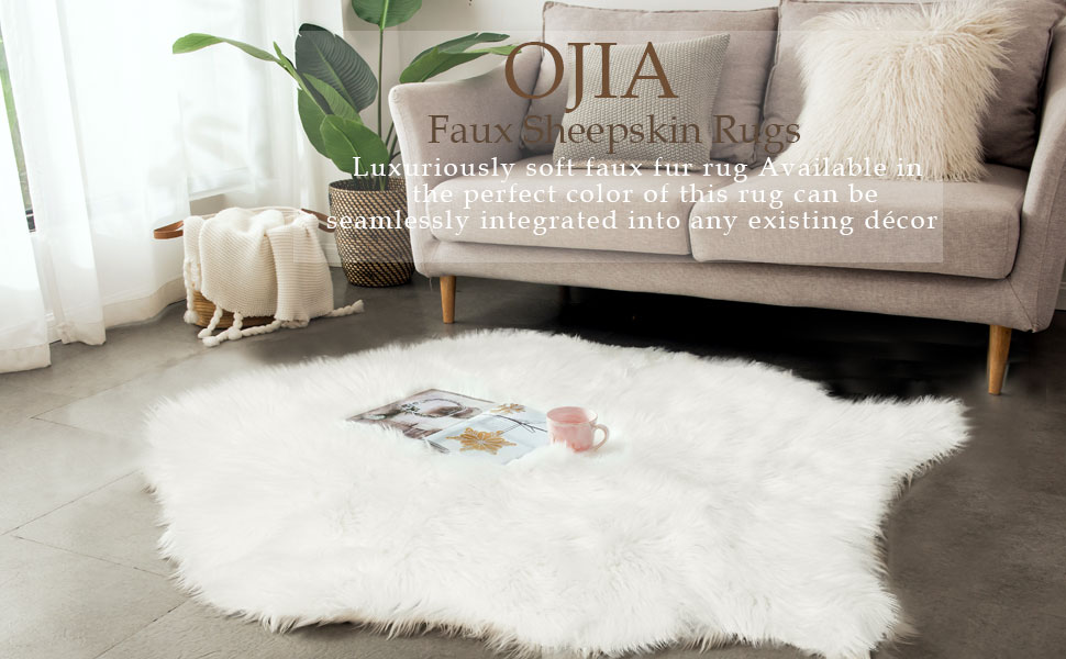 OJIA Shag Area Rug Faux Fur Sheepskin Area Rug, Super Soft Chair Cover Seat Cushion for Couch, Living Room Bedroom Floor - Ivory White, 2ft x 3ft