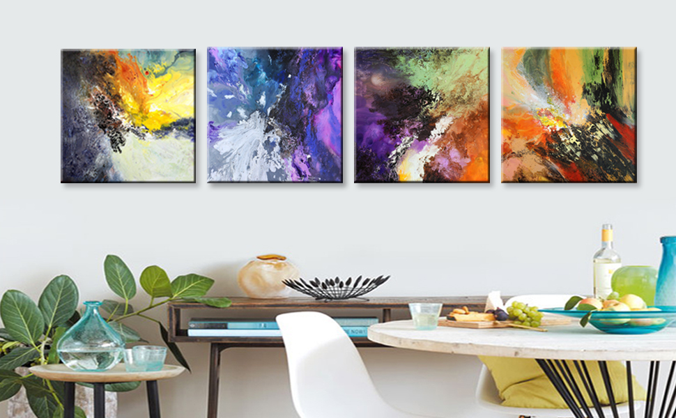 Amazon Com Abstract Wall Art For Living Room Bedroom Bathroom Office Kitchen Wall Decor Canvas Prints Original Abstract Painting On Canvas Modern Framed Art Blue Purple Posters Prints