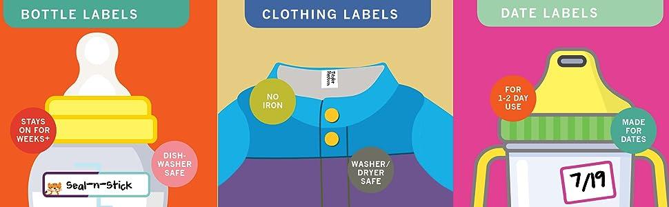 waterproof labels daycare back to school baby bottle self laminating dishwasher safe clothing label